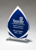 Flame Series Clear Glass Award with Blue Center and Frosted Accents Employee Awards