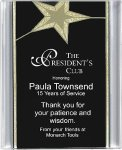 Black/Gold Star Acrylic Award Recognition Plaque Patriotic Awards