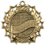 Perfect Attendance Ten Star Medal Scholastic Trophy Awards