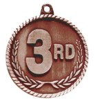 High Relief 3rd Place Medal Tennis Trophy Awards